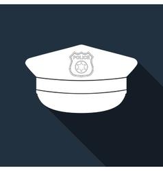 Police cap icon with long shadow vector