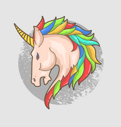 printunicorn head colorful vector image