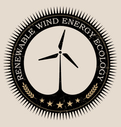 Retro styled badge with wind turbine vector