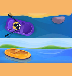 rubber inflatable boat banner set cartoon style vector image