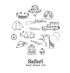 safari set isolated hand drawn doodles set vector image