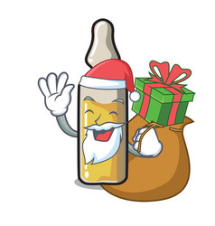 Santa with gift ampoule mascot cartoon style vector