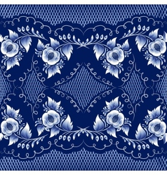 Seamless mazarine floral pattern in gzhel style vector