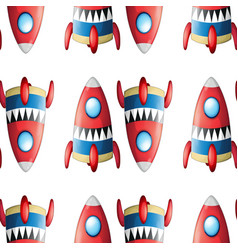 Seamless pattern tile cartoon with rockets vector