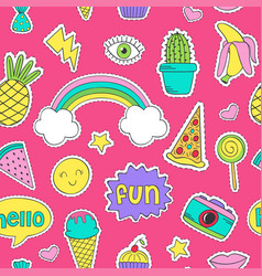 Seamless pattern with funny stickers vector