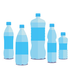set of five bottles of pure water vector image
