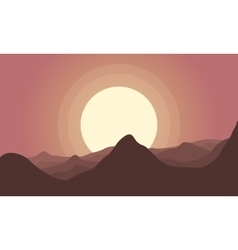 Silhouette of hill and big sun scenery vector image