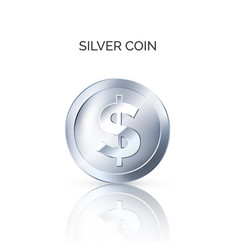 silver coin front view glossy metallic money vector image