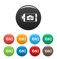 smartphone take photo icons set color vector image