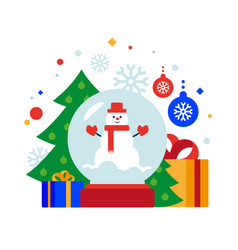 snow man globe vector image
