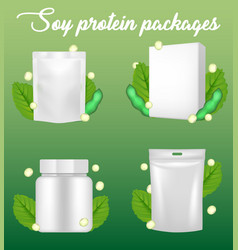 Soy protein package realistic mockup set vector