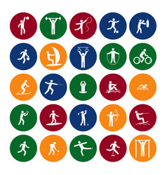 sport icon playing people set color in the circle vector image