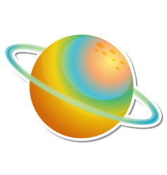 Sticker template with colorful planet isolated vector
