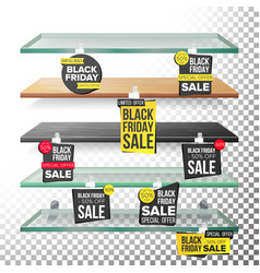 supermarket shelves black friday sale advertising vector image