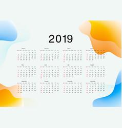 template calendar on 2019 year calendar design vector image