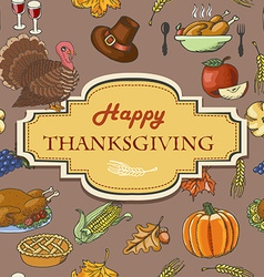 Thanksgiving background with acorns leaves and vector image