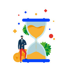 time is money businessman at the hourglass vector image