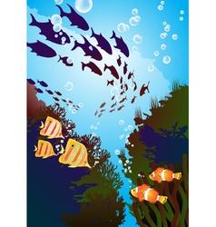 Underwater with fish vector