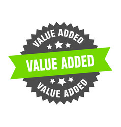 Value added sign value added green-black circular vector