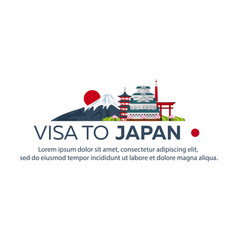 Visa to japan travel to japan document for vector
