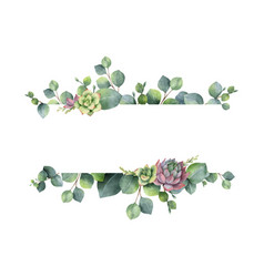 watercolor wreath with green eucalyptus vector image