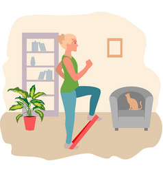 Woman exercising with a resistance band at home vector