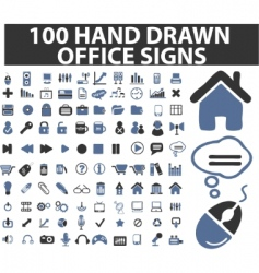 100 simple hand drawn signs vector image