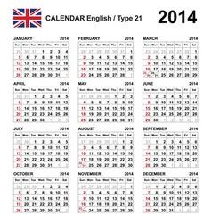 Calendar 2014 English Type 21 vector image vector image