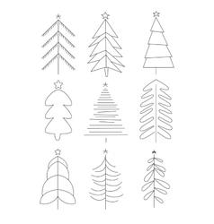 Handdrawn Christmas Trees vector image