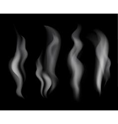 Smoke set on black background vector