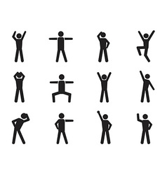 stick figure posture icons vector image
