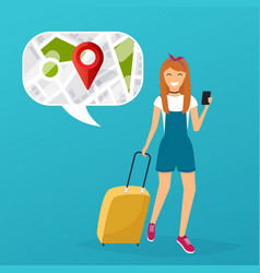 young woman holding mobile smart phone with vector image