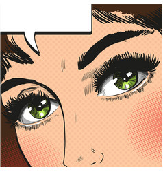 close up view eyes woman pop art retro vector image vector image