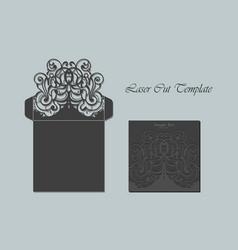 die laser cut envelope template invitation vector image
