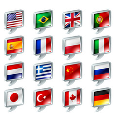 flag speech bubble icons buttons vector image vector image