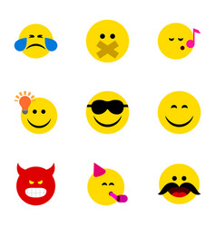Flat icon emoji set of hush pouting descant and vector