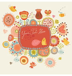 Floral background with funny birds and insects vector image vector image