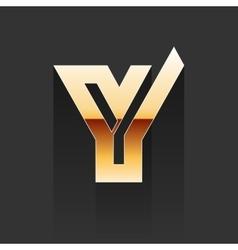 Gold Letter Y Shape Logo Element vector image vector image