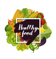 healthy farm food banner with vegetable vector image vector image