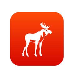 moose icon digital red vector image vector image