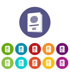 passport set icons vector image