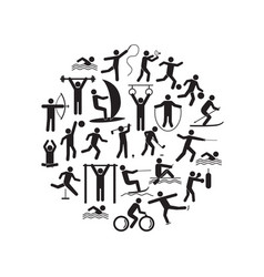 sport icon playing people black round design vector image vector image