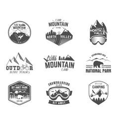 Summer and winter mountain explorer camp badge vector
