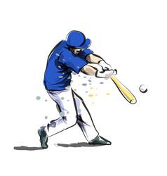 color line sketch baseball vector image vector image
