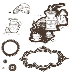 Cup coffee grinder grains and frames vector