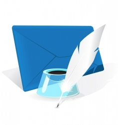 envelope feather quill vector image vector image