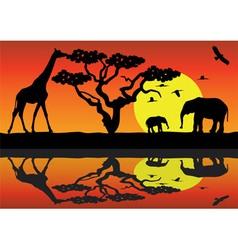 giraffe and elephants in africa vector image vector image