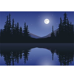 Moon Over Calm Lake vector image
