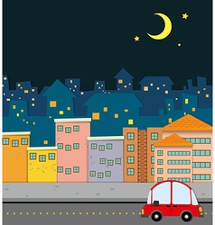 Neighborhood scene at night vector image vector image