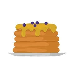 Pancakes with fresh blueberries and maple syrup vector image